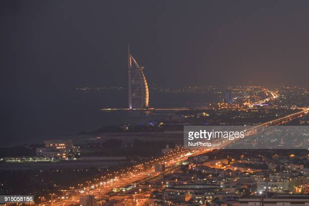 A panoramic view of the Burj alArab luxury hotel and the area around at night from the Media One Hotel On Tuesday February 6 in Dubai United Arab...