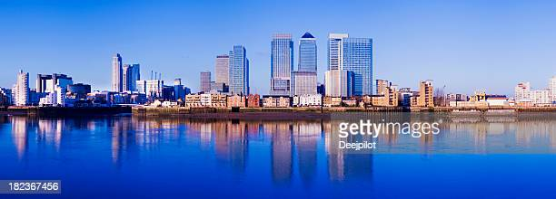 Panoramic View of the Canary Wharf City Skyline London UK