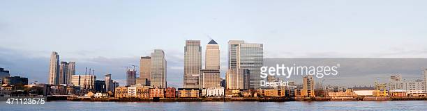 Panoramic View of the Canary Wharf City Skyline London UK