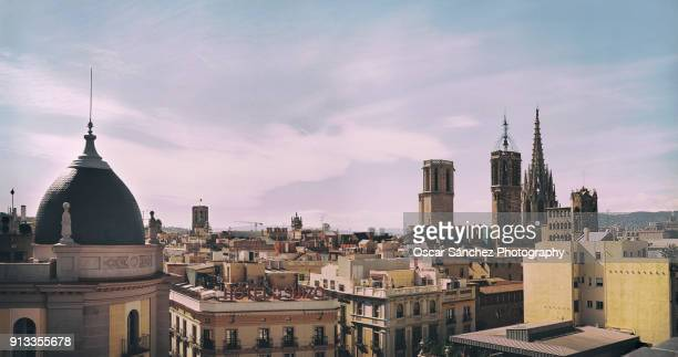 Panoramic view of the cathedral of Barcelona