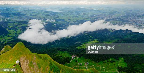 xxxl: panoramic view of the chapel on mt. pilatus, switzerland - ogphoto stock photos and pictures