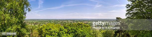 Panoramic view of the Cheshire countryside from Alderley edge on a spring day.