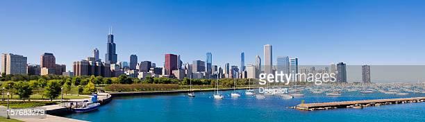 Panoramic View of the Chicago City Skyline USA