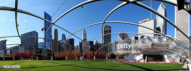 Panoramic view of the Chicago skyline as photographed from Millennium Park's Pritzker Pavilion in Chicago Illinois on NOVEMBER 10 2013