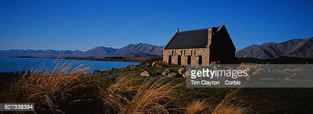 A panoramic view of The Church of the Good Shepherd situated on the shores of Lake Tekapo It was the first church built in the Mackenzie Basin in...