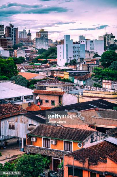 panoramic view of the city and its houses, in asunción, paraguay. - asuncion stock photos and pictures