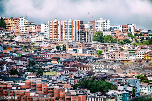 panoramic view of the city of manizales and its houses, in caldas, colombia. - social inequality stock pictures, royalty-free photos & images