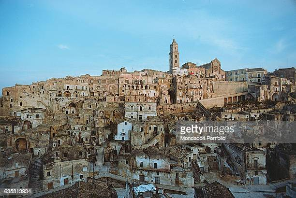 Panoramic view of the city of Matera in a state of abandon Matera 1978