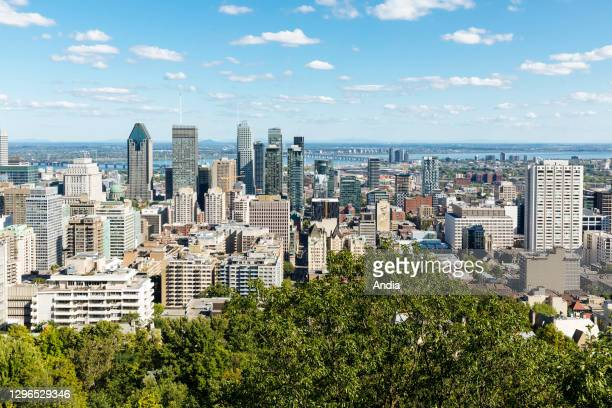 Panoramic view of the city of Montreal from Mount Royal, Quebec, Canada.