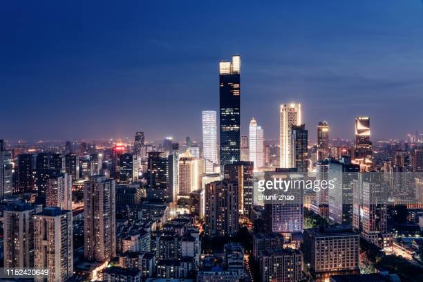 a panoramic view of the city skyline - 南京市 ストックフォトと画像