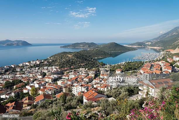 panoramic view of the coastal town of kas, lycia, southern turkey - kas stock pictures, royalty-free photos & images