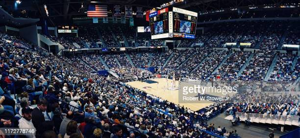 Panoramic view of the crowd during a sold-out, Big East basketball game between the University of Connecticut and the University of Notre Dame...