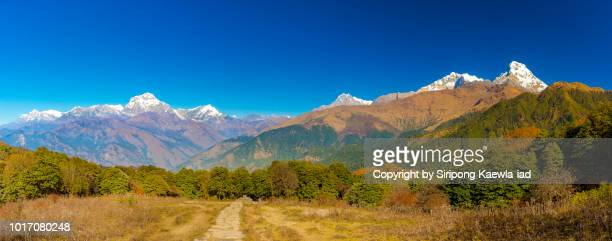 Panoramic view of the Dhaulagiri and Annapurna mountain range from Ghorepani village, Nepal.