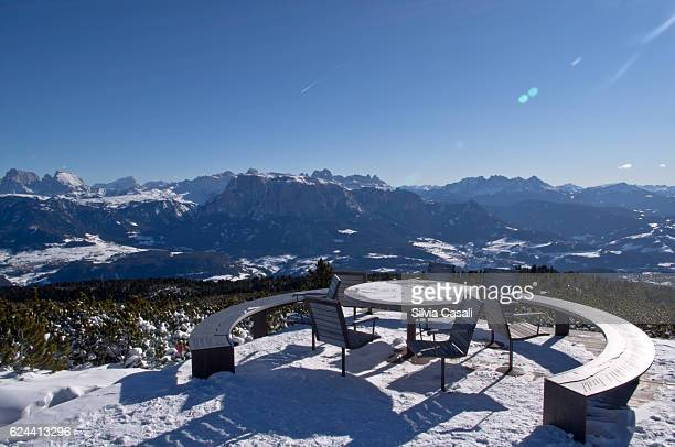 A panoramic view  of the Dolomites from Rittner Round table
