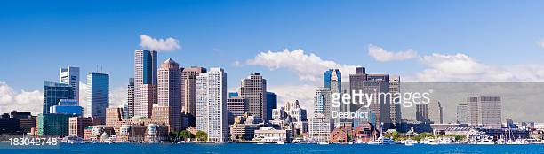 panoramic view of the downtown boston city skyline usa - massachusetts stock pictures, royalty-free photos & images