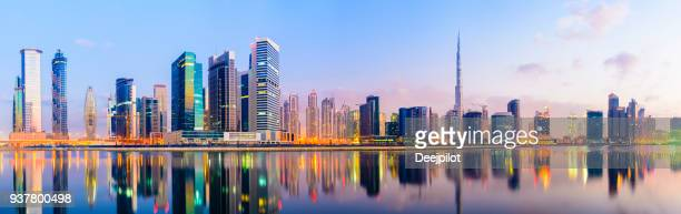 Panoramic view of the Downtown Dubai city Skyline at Sunset