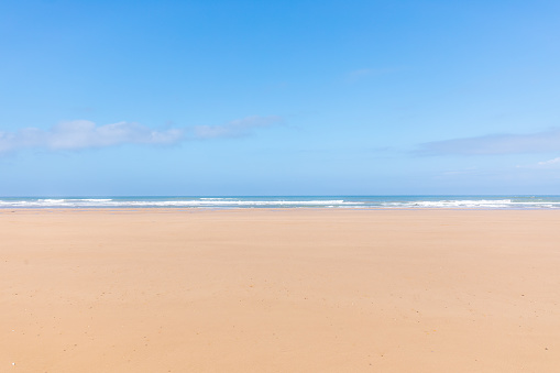 Panoramic view of the empty beach and waves. Sea in the background. Sidi Kaouki, Morocco. - gettyimageskorea