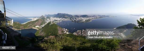 A panoramic view of the Enseada de Botafogo harbour Atlantic Ocean Ponta do Leme Guanabara Bay and Copacabana beach shot from the Sugarloaf Mountain...