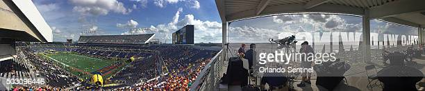 A panoramic view of the field from the Press Box Balcony before the start of the Buffalo Wild Wings Citrus Bowl with Florida taking on Michigan at...