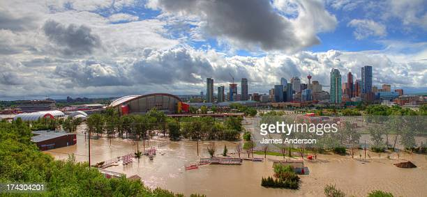 CONTENT] A panoramic view of the flooded stampede grounds Image was taken on June 21st at approximately 2pm The Saddledome was full of water up to...