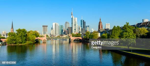 Panoramic View of the Frankfurt City skyline and Main river with reflection, Germany
