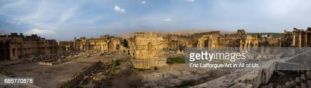 Panoramic view of the great court of the temple complex Beqaa Governorate Baalbek Lebanon on May 1 2017 in Baalbek Lebanon