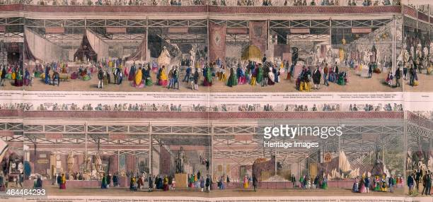 Panoramic view of the Great Exhibiton of 1851 held at Crystal Palace in Hyde Park London The upper half shows exhibits from Switzerland Tunisia and...