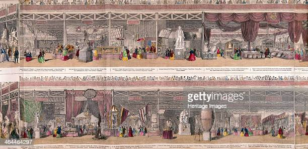 Panoramic view of the Great Exhibiton of 1851 held at Crystal Palace in Hyde Park London Top shows exhibits form India and Canada bottom shows...
