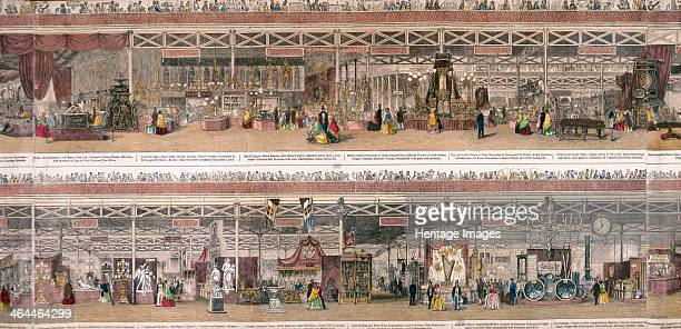 Panoramic view of the Great Exhibiton of 1851 held at Crystal Palace in Hyde Park London Top shows an exhibition of hardware goods bottom shows...