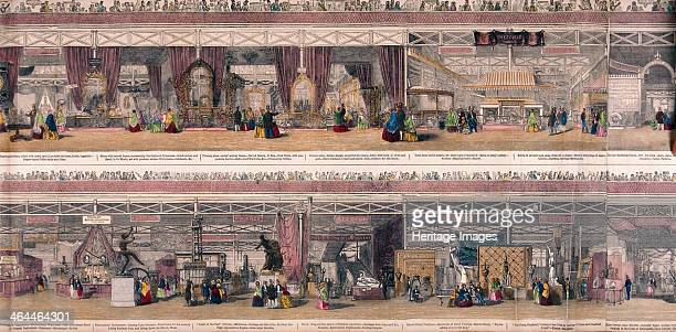 Panoramic view of the Great Exhibiton of 1851 held at Crystal Palace in Hyde Park London The upper half shows an exhibition of hardware goods the...