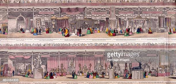Panoramic view of the Great Exhibiton of 1851 held at Crystal Palace in Hyde Park the upper half shows exhibitions of woollen and worsted and mixed...