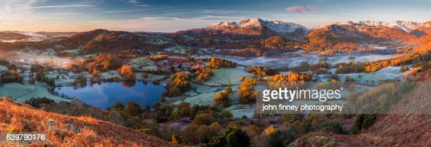 Panoramic view of the Great Langdale valley. English Lake District. UK.