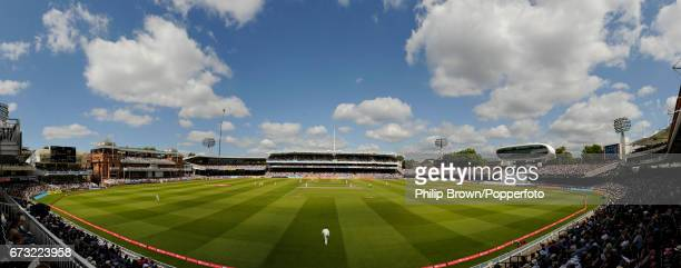 A panoramic view of the ground during the 1st Test match between England and India at Lord's cricket ground in London July 24 2011