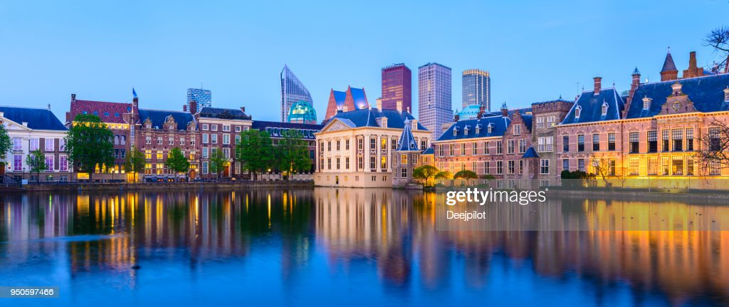 Panoramic View of The Hague Downtown City Skyline and Parliament Buildings at Twilight, Netherlands : Stock Photo