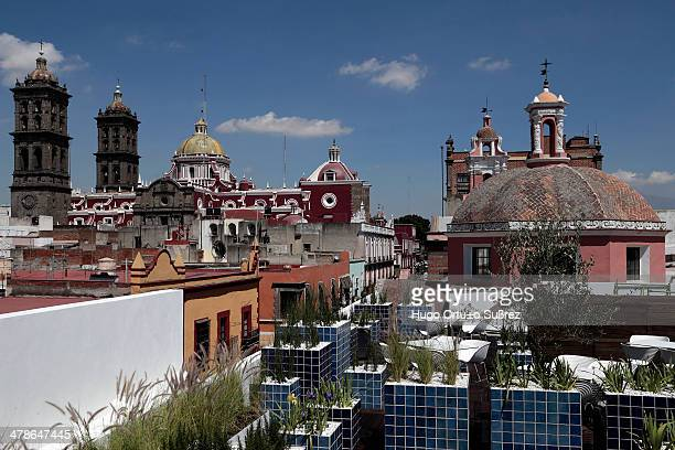Panoramic view of the historic center of Puebla from the new terrace of the Amparo Museum, the largest museum in Latin America. With an investment of...