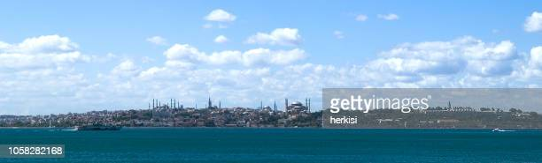 panoramic view of the historical peninsula of istanbul - historical istanbul stock pictures, royalty-free photos & images
