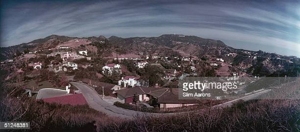 A panoramic view of the Hollywood Hills California circa 1955