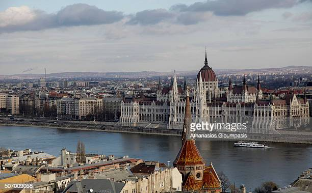 Panoramic view of The Hungarian Parliament Building or House of the Nation on December 31 2011 in Budapest Hungary The Parliament of Budapest is the...