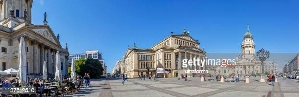 panoramic view of the iconic historic gendarmenmarkt square in central berlin mitte district - gendarmenmarkt stock pictures, royalty-free photos & images