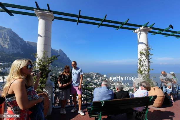 Panoramic view of the Island of Capri to the Gulf of Naples Campania region southern Italy