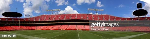Panoramic view of the Kansas City Chiefs playing field at Arrowhead Stadium home of the Kansas City Chiefs in Kansas City Missouri on August 12 2017