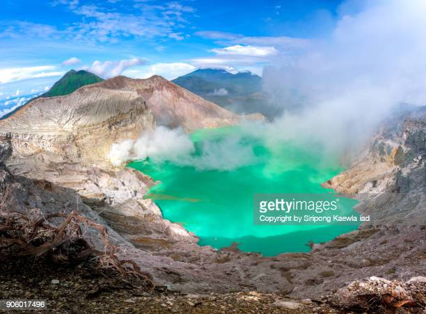 Panoramic view of the Kawah Ijen volcano crater in Indonesia.
