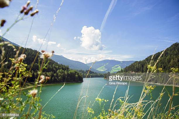 Panoramic view of the lake of Olang (Valdaora), South Tyrol, Italy.