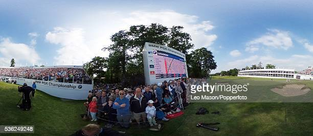 Panoramic view of the leaderboard and spectators at Wentworth on May 29, 2016 in Virginia Water, England.