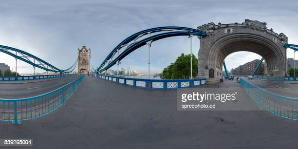 360° Panoramic View of the London Tower Bridge, River Thames