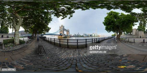360° Panoramic View of the London Tower Bridge, River Thames, Tower of London
