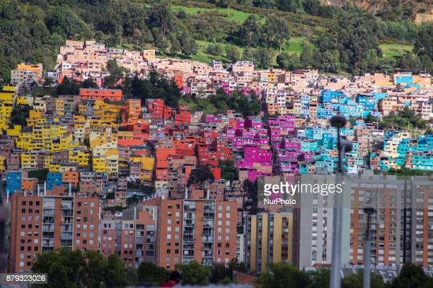 A panoramic view of the macro mural inaugurated today by the mayor of Bogotá Enrique Penalosa Habitarte project in Bogotá Colombia November 25 2017...
