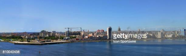 A panoramic view of the Malecon Havana with the capital's dome in the background on July 4 in Havana Cuba