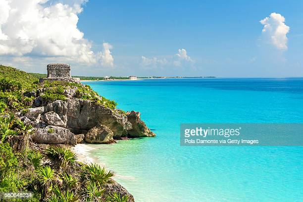 Panoramic view of the mayan ruins of Tulum, Mexico
