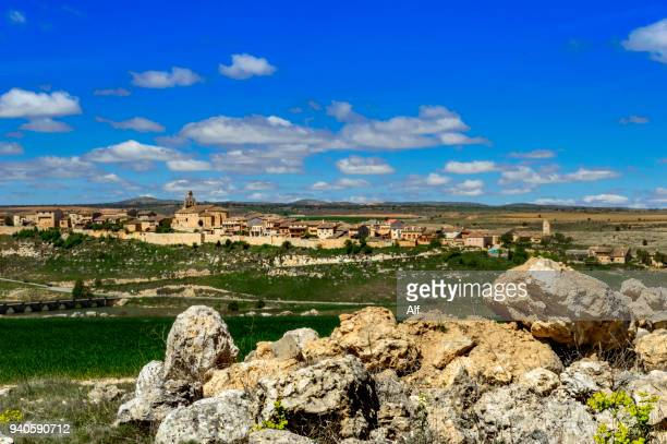 panoramic view of the medieval village of maderuelo, segovia, spain - segovia stock pictures, royalty-free photos & images